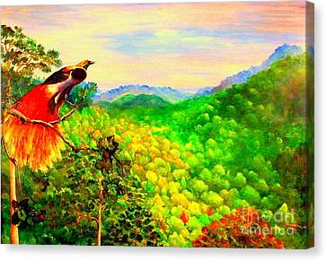 Canvas Print featuring the painting Paradise Bird Of Papua by Jason Sentuf