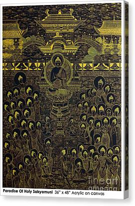 Canvas Print featuring the painting Paradise Of Holy Sakyamuni by Fei A