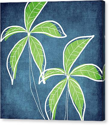 Abstract Art Canvas Print - Paradise Palm Trees by Linda Woods