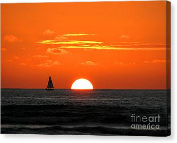 Paradise Sunset Sail Canvas Print by Kristine Merc