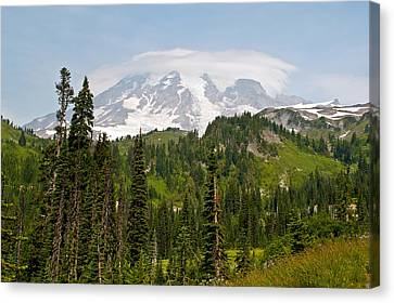 Paradise Valley And Mt.rainier View Canvas Print