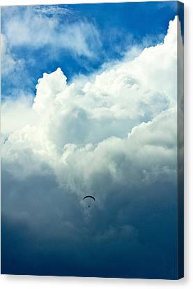 Paragliding In Changing Weather Canvas Print by Viacheslav Savitskiy