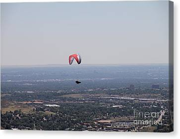 Canvas Print featuring the photograph Paragliding Over Golden by Chris Thomas
