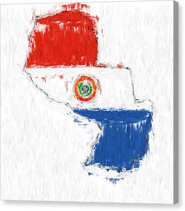 Paraguay Painted Flag Map Canvas Print by Antony McAulay