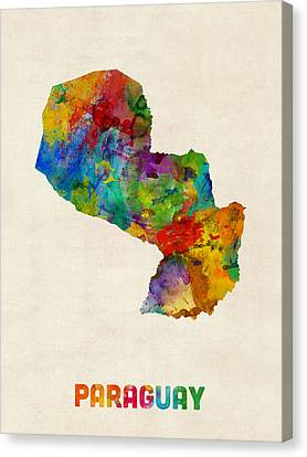 Paraguay Watercolor Map Canvas Print by Michael Tompsett