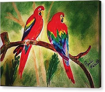 Parakeets In Paradise Canvas Print by Renee Michelle Wenker