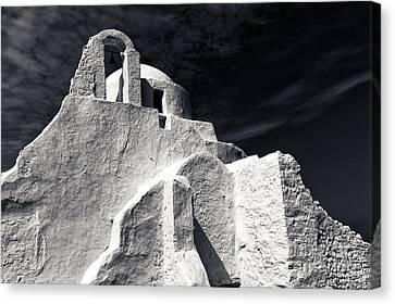 Panagia Canvas Print - Paraportiani Church Mono by John Rizzuto