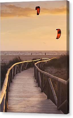Parasurfing Tarifa, Costa De La Luz Canvas Print by Ben Welsh