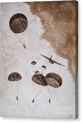 Paratroopers Canvas Print by Zaira Dzhaubaeva
