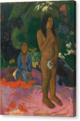 Primitive Nude Canvas Print - Parau Na Te Varua Ino by Paul Gaugin