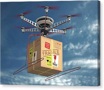 Cardboard Canvas Print - Parcel Delivered By Drone by Ktsdesign