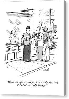 Pardon Me, Officer.  Could You Direct Canvas Print