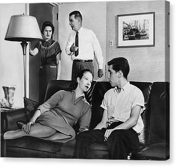 Bonding Canvas Print - Parents And Teen Couple by Underwood Archives