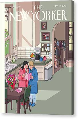 Parents Read Their Mothers' Day Cards Canvas Print by Chris Ware