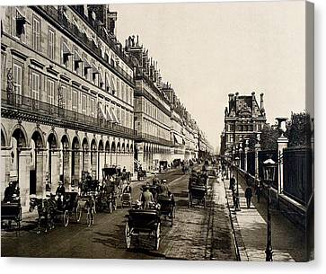 Paris 1900 Rue De Rivoli Canvas Print by Ira Shander