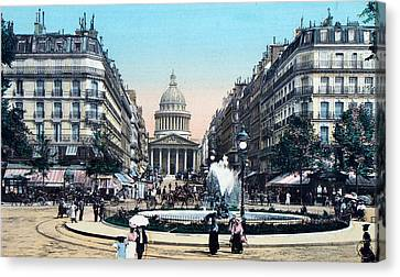 Paris 1910 Rue Soufflot And Pantheon Canvas Print by Ira Shander