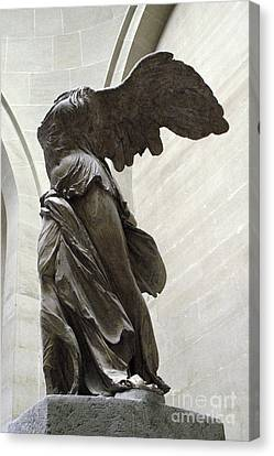 Paris Angel Louvre Museum- Winged Victory Of Samothrace Canvas Print by Kathy Fornal