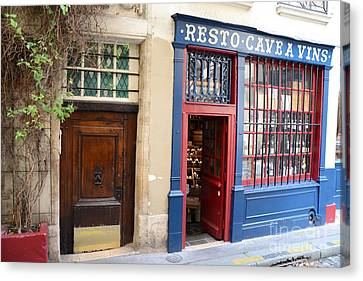 Paris Architecture Brown Door And Wine Shop - Paris Resto Cave A Vins Street Shoppe  Canvas Print by Kathy Fornal