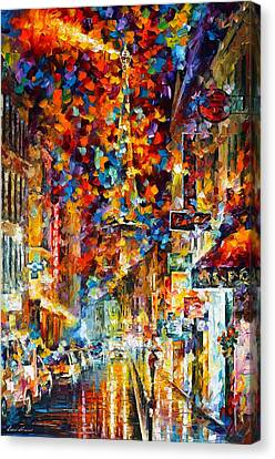 Paris At Night Canvas Print by Leonid Afremov