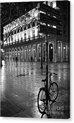 Paris Black And White Palais Royal Rainy Night - Paris Bicycle Street Photography Canvas Print by Kathy Fornal