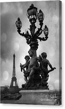 Paris Black And White Pont Alexandre Bridge - Paris Black And White Romantic Eiffel Tower Canvas Print by Kathy Fornal