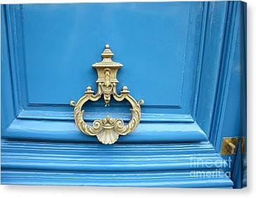 Paris Blue Door Brass Knocker - Parisian Royal Blue Doors And Brass Paris Door Knockers Canvas Print by Kathy Fornal