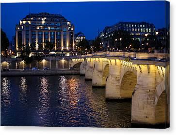 Paris Blue Hour - Pont Neuf Bridge And La Samaritaine Canvas Print by Georgia Mizuleva