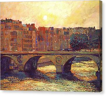Paris Bridge Over The Seine Canvas Print