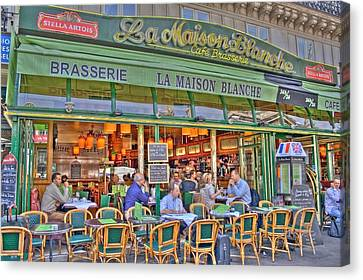 Paris Cafe In Summer Canvas Print by Matthew Bamberg