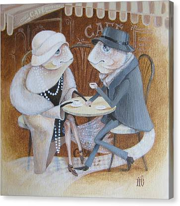 Canvas Print featuring the painting Paris Cafe by Marina Gnetetsky