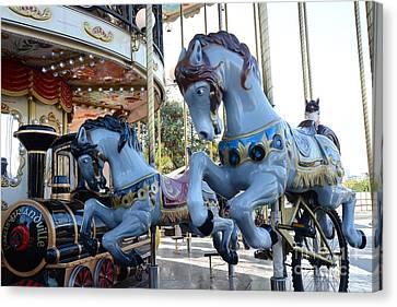 Paris Carousel Merry-go-round Horses - Paris Blue Carousel Horses - Baby Boy Blue Nursery Carousel Canvas Print