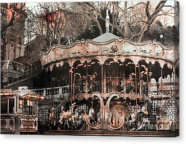 Paris Carousel Merry Go Round Sepia -  Paris Carousel Montmartre District Sacre Coeur Canvas Print