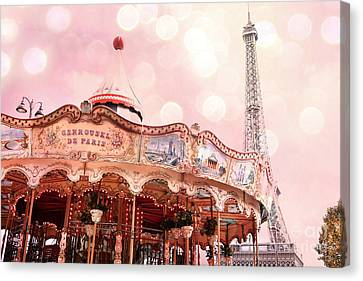 Paris Carrousel De Paris - Eiffel Tower Carousel Merry Go Round - Paris Baby Girl Nursery Decor Canvas Print by Kathy Fornal