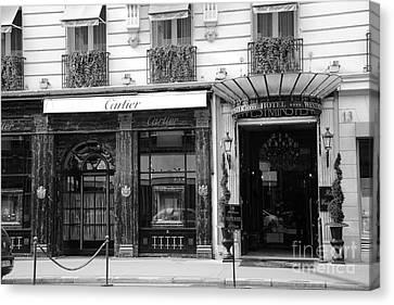Paris Cartier Black And White Art - Paris Cartier Hotel Westminster Architecture Street Photography Canvas Print