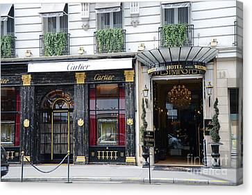 Paris Cartier Photos - Paris Elegant Opulence Hotel Westminster - Paris Cartier Boutique Fine Art  Canvas Print