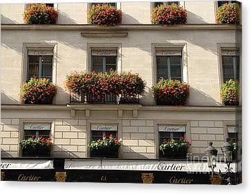 Paris Cartier Window Boxes - Paris Cartier Windows And Flower Boxes - Cartier Paris Building  Canvas Print by Kathy Fornal