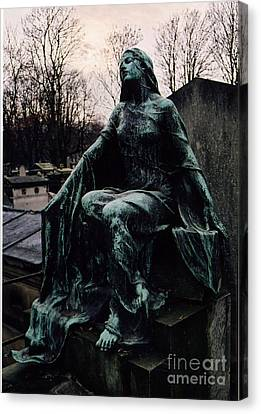 Paris Cemetery Female Mourners - Montmartre Cemetery Surreal Gothic Female Mourner  Canvas Print by Kathy Fornal