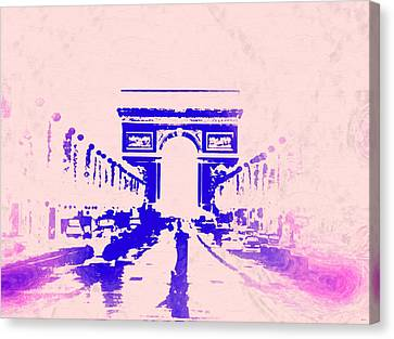 Paris Champs-elysees Vintage Canvas Print