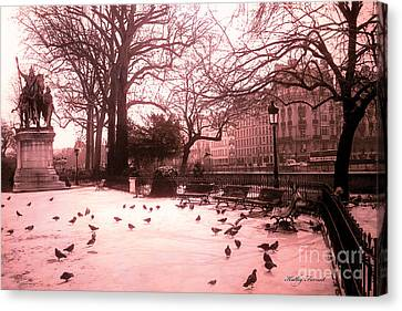 Paris Charlemagne Notre Dame Cathedral Courtyard - Paris Dreamy Pink Notre Dame Statue With Pigeons  Canvas Print by Kathy Fornal