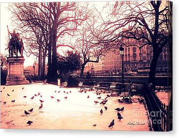 Paris Charlemagne Statue - Surreal Sunset Notre Dame Courtyard Charlemagne With Pigeons Canvas Print by Kathy Fornal