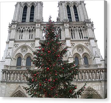 Paris Christmas Photography - Notre Dame Cathedral Christmas Tree - Paris At Christmas Canvas Print by Kathy Fornal