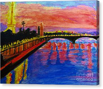 Paris City Of Lights At Dusk Canvas Print