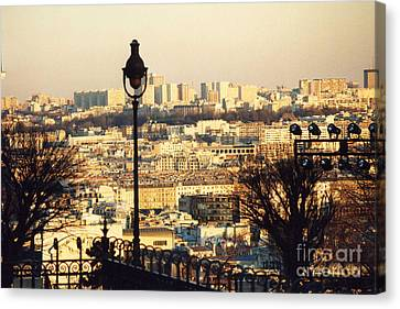 Paris Cityscape Sunset Panoramic View - Paris At Sunset Dusk - Paris City Of Light Aerial View Photo Canvas Print by Kathy Fornal