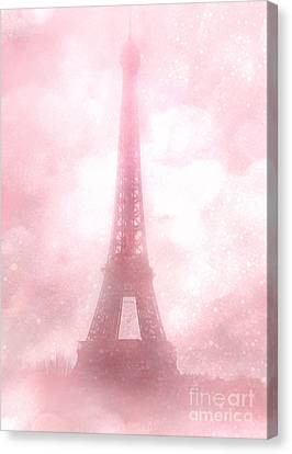 Paris Shabby Chic Pink Dreamy Romantic Eiffel Tower Fantasy Pink Clouds Fine Art Canvas Print by Kathy Fornal