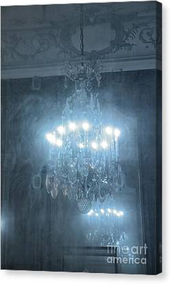 Paris Crystal Chandelier Haunting Mirrored Reflection - Rodin Museum Blue Sparkling Chandelier Art Canvas Print by Kathy Fornal