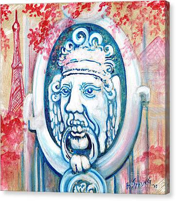Paris Door Knocker Canvas Print by Bonnie Sprung