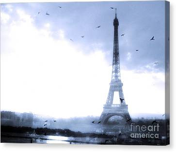 Paris Dreamy Blue Eiffel Tower With Birds Flying - Surreal Fantasy Eiffel Tower Pastel Blue Canvas Print by Kathy Fornal