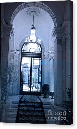 Paris Dreamy Blue Posh Hotel Interior Arch Entry With Sparkling Crystal Chandelier   Canvas Print by Kathy Fornal