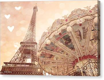 Paris Dreamy Eiffel Tower And Carousel With Hearts - Paris Sepia Eiffel Tower And Carousel Photo Canvas Print by Kathy Fornal