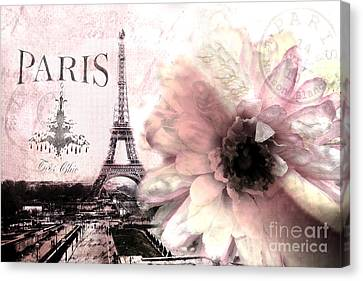 Print Canvas Print - Paris Dreamy Eiffel Tower Montage - Paris Romantic Pink Sepia Eiffel Tower And Flower French Script by Kathy Fornal